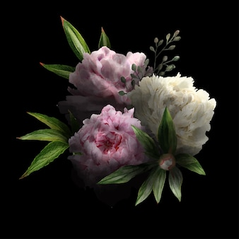 Weelderig bloemenboeket in rustige, zwarte achtergrond, roze en witte pioenen en bladeren, hand getrokken wtercolor illustratie.