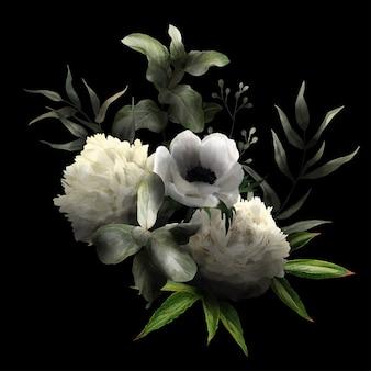Weelderig bloemenboeket in rustige, zwarte achtergrond, witte anemoon en pioenen en bladeren, hand getrokken wtercolor illustratie.