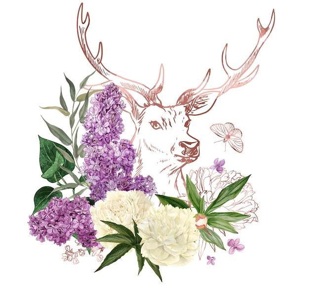 Weelderig boeket met pioenrozen en lila en rose gouden herten