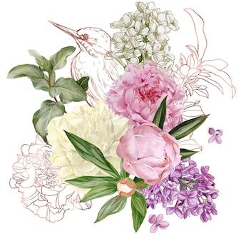 Weelderig boeket met pioenrozen en lila en rose gouden vogel