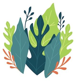 Weelderig groen van bladeren en bladeren, geïsoleerde flora en exotische tropische planten en plantkunde. bloeiend en bloeiend delicaat boeket, elegante decoratie of cadeau voor vakantie. vector in vlakke stijl