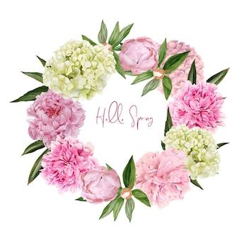 Weelderig roze pioenen en het ontwerp van de de kroonillustratie van hydrangea hortensiabloemen