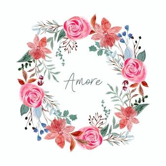 Weelderige bloemenkrans in aquarel stijl