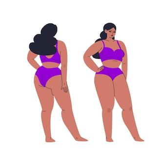 Weelderige mooie vrouw in ondergoed met volle groei, voor- en achterkant uitzicht.