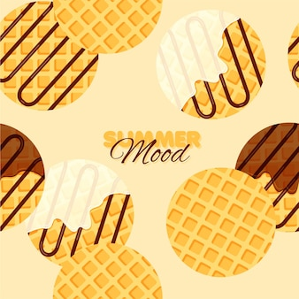 Weense of belgische wafels naadloos patroon ronde wafel met vanilleroom en chocoladesiroop of topping