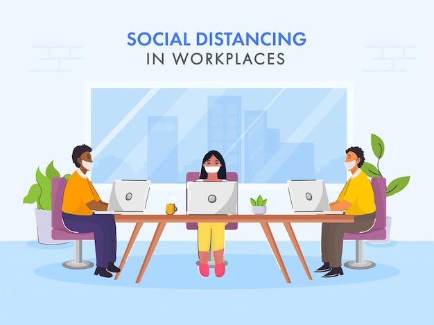 Weer aan het werk na pandemisch concept met behoud van sociale afstandsboodschap.