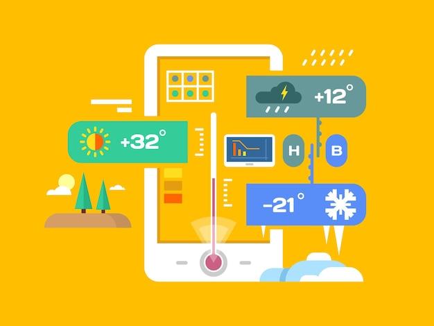Weer applicatie. voorspelling en temperatuur, smartphone en regenachtig, zonnig en meteorologie, platte vectorillustratie