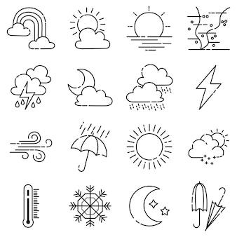 Weer doodle vector set illustratie met hand tekenen lijn kunststijl vector, ster, zon