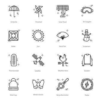 Weer lijn iconen pack