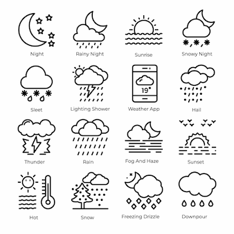 Weer line icons pack