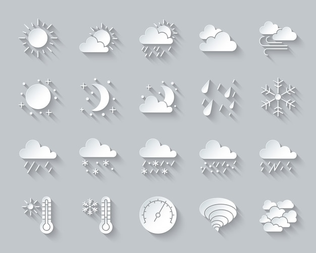 Weer, meteorologie, klimaat icon set omvat zon, wolk, sneeuw, regen, papier knippen, materiaalontwerp.