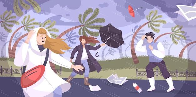 Weer orkaan platte compositie met buiten tropisch landschap met palmen geblazen door wind en menselijke karakters illustratie