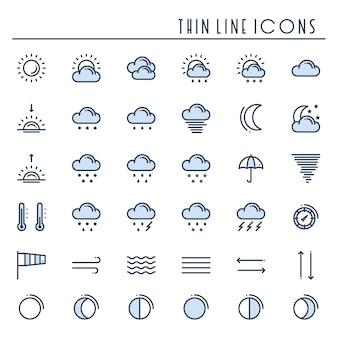 Weer pack lijn pictogrammen instellen. meteorologie. weersvoorspellingssymbolen.