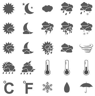 Weer pictogrammenset zwart op witte achtergrond