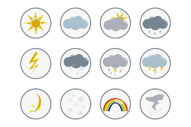 Weer setkleurrijke cartoon weerpictogrammen collectie