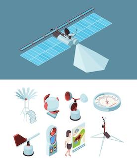 Weerapparatuur. meteorologisch station satellietmeting sokken wind observatieplaats.