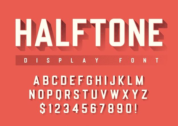 Weergave lettertype met halftoon schaduw, alfabet, chara