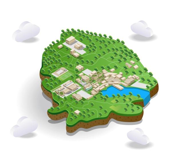 Weergave van boswegen en gebouwen op landschapskaart