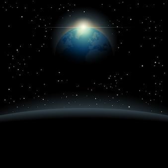 Weergave van de planeet aarde vanuit de ruimte achtergrond