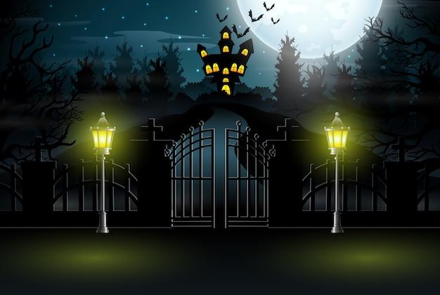 Weergave van een spookhuis met een achtergrond van volle maan
