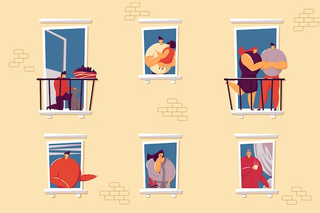 Weergave van flatgebouw huurders illustratie