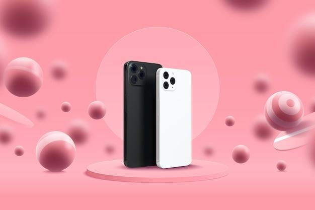 Weergavesjabloon met mobiele telefoons