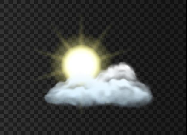 Weerpictogram met gedeeltelijk bewolkt klimaat: realistische zon boven wolk geïsoleerd op zwarte achtergrond. dagelijkse voorspelling applicatie webelement ontwerp. 3d vectorillustratie