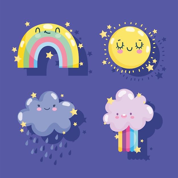 Weerpictogrammen instellen schattige regenboog zon wolk regen regenboog grappige decoratie paarse achtergrond vector
