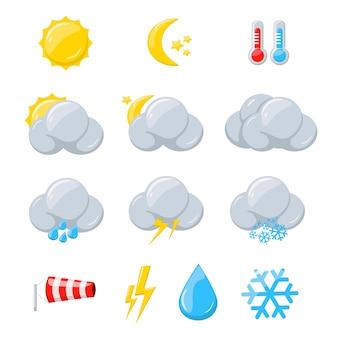 Weerpictogrammen voor meteorologische voorspelling met zon