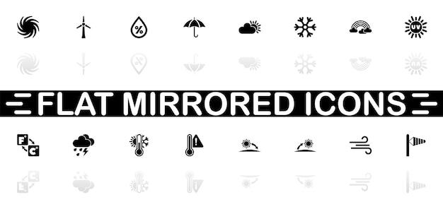 Weerpictogrammen - zwart symbool op witte achtergrond. eenvoudige illustratie. platte vector icon. spiegel reflectie schaduw. kan worden gebruikt in logo, web, mobiel en ui ux-project.