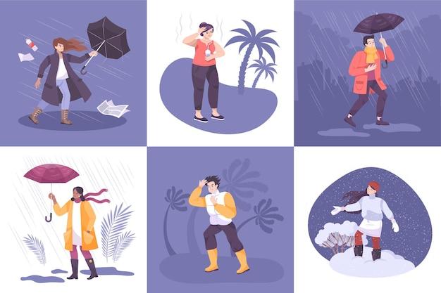 Weersamenstellingen met een reeks vierkante composities met mensen die te maken hebben met seizoens- en klimaatomstandigheden