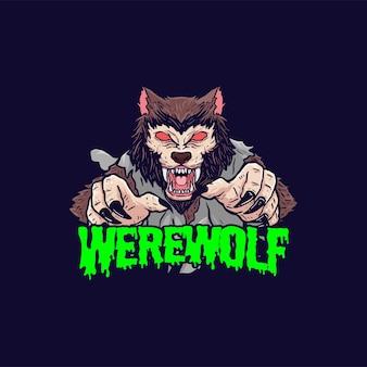 Weerwolf illustratie horror ontwerp poster