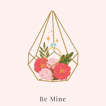Wees de mijne. diamanten ring met terrarium glas hand getekende illustratie
