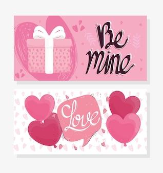 Wees de mijne liefde belettering kaart met cadeau en harten illustratie