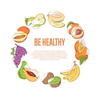 Wees een gezonde poster met tropisch fruit