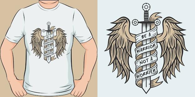 Wees een krijger, geen zorgen. uniek en trendy t-shirtontwerp.