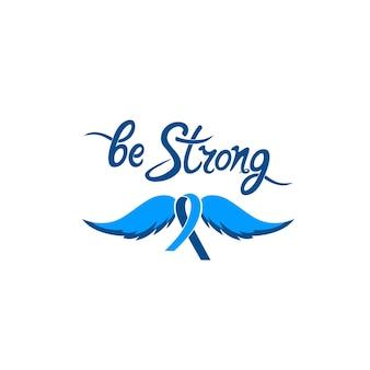 Wees een sterke motiverende handgetekende inscriptie. een blauw lint met een snor. prostaatkanker awareness month concept.