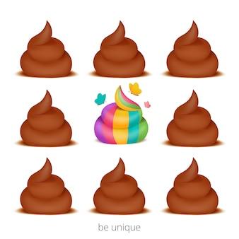 Wees een unieke conceptkaart met poo van de regenboog eenhoorn.