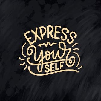 Wees jezelf belettering slogan. moderne kalligrafietekst over zelfzorg.