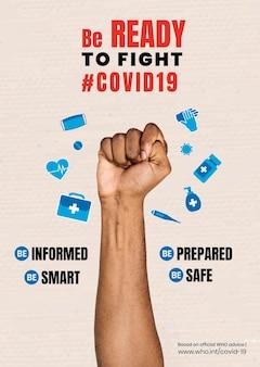 Wees klaar om te vechten tegen covid-19-sjabloonvector
