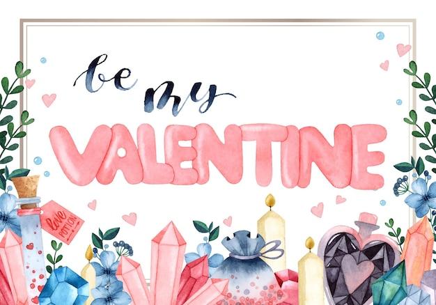 Wees mijn valentijn frame aquarel uitnodigingskaart
