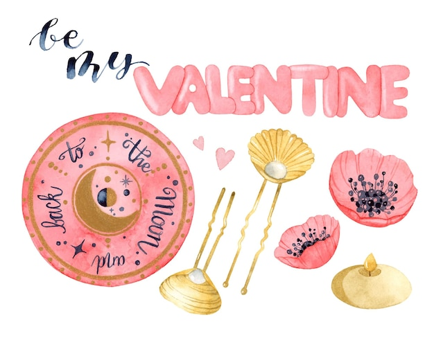 Wees mijn valentijn magische aquarel elementen set geïsoleerd