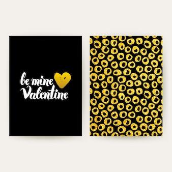 Wees mijn valentijn retro posters. vectorillustratie van gouden patroonontwerp met handgeschreven letters.