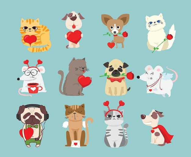 Wees mijn valentijn. valentijnsdag banner, achtergrond, flyer, plakkaat met schattige dieren.