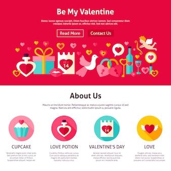 Wees mijn valentijn webdesign. vlakke stijl vectorillustratie voor websitebanner en bestemmingspagina. liefde vakantie.