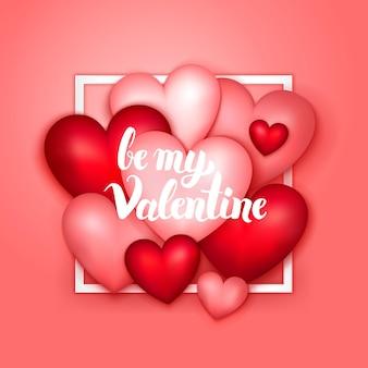 Wees mijn valentijnsharten. vectorillustratie van seizoensgebonden liefde concept.