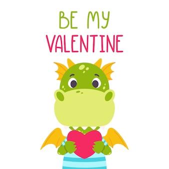 Wees mijn valentine-ansichtkaart met draak.