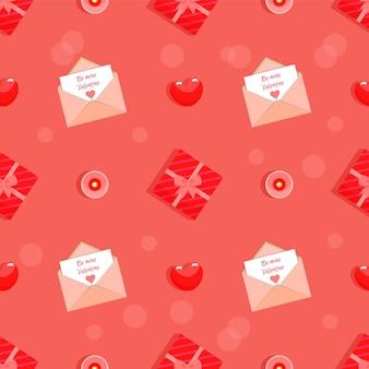 Wees mijn valentine naadloos patroon in rode kleuren.