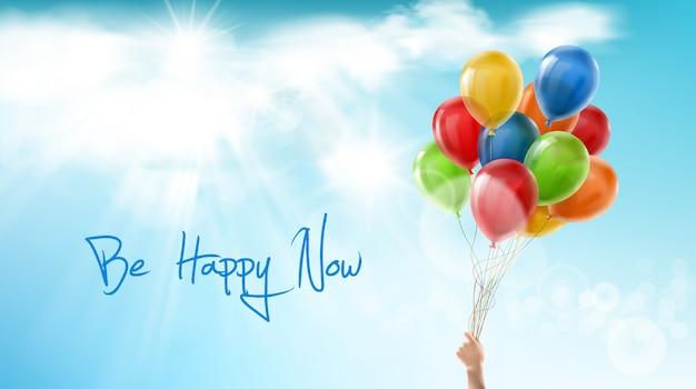Wees nu gelukkig, motiverende positieve banner. inspirerende zin, woorden van wijsheid