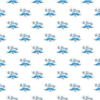 Wees sterke motiverende handgetekende letters. een blauw lint met een snor. prostaatkanker awareness month naadloos patroon